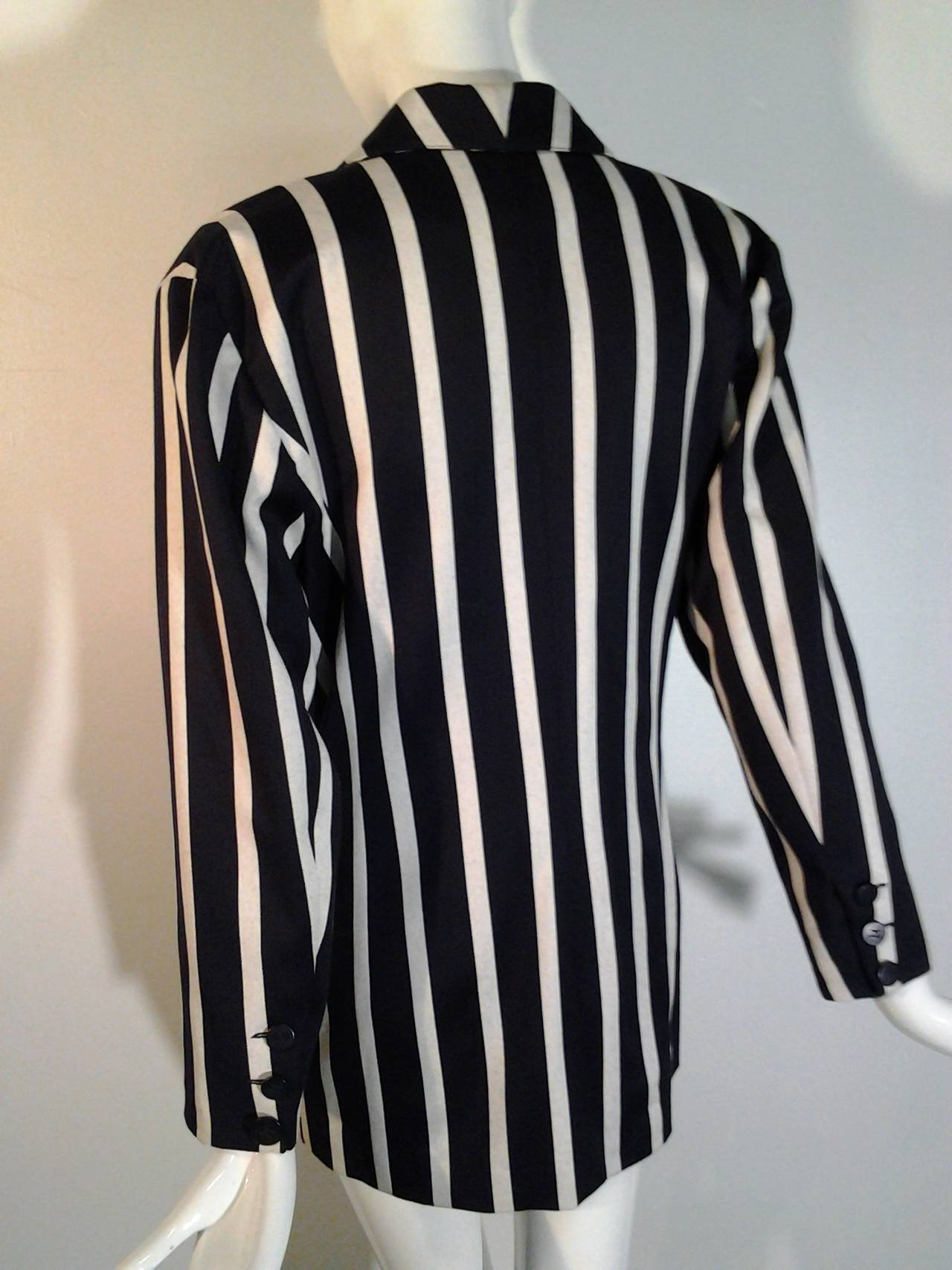 1980s Karl Lagerfeld Awning Stripe Jacket In Wool And