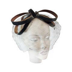 1960s Vidal Veiled Ribbon Fascinator Hat