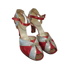 1930s Evening Sandals in Silver Leather and Red Satin - Size 8.5
