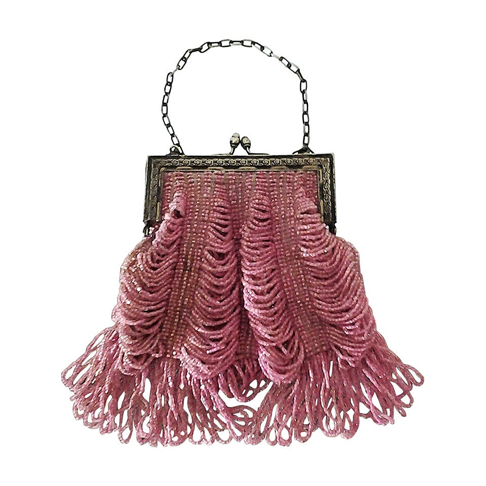 1920s Rose Glass Beaded Metal Frame Handbag For Sale At