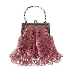 1920s Rose Glass Beaded Metal Frame Handbag