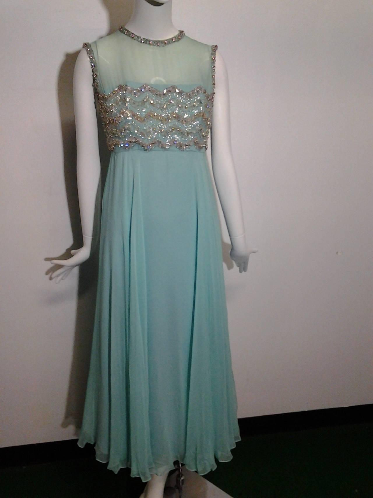 1960s Aqua Silk Chiffon Empire Gown with Heavily Beaded Bodice For ...