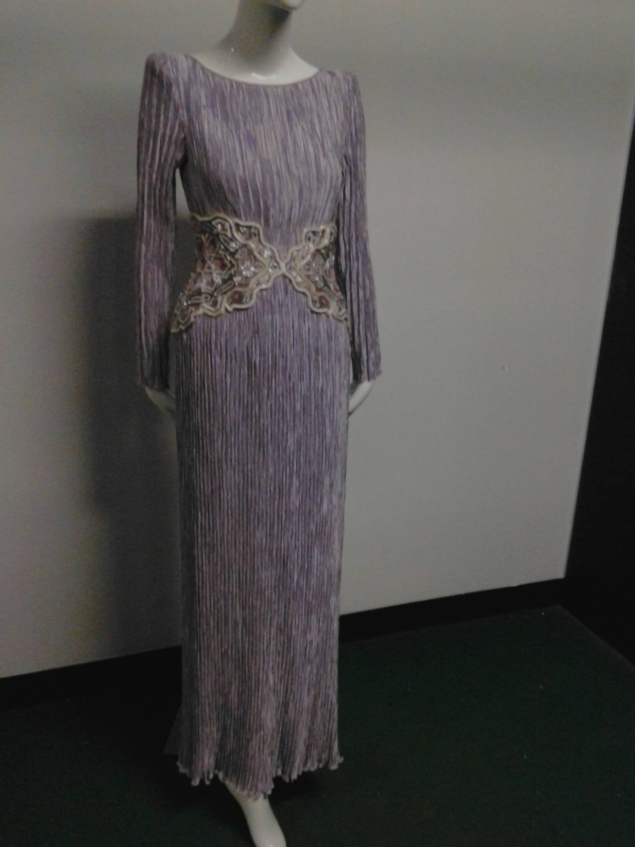 1980s Mary McFadden Lilac Pleated Silk Gown w/ Beaded Detail 3