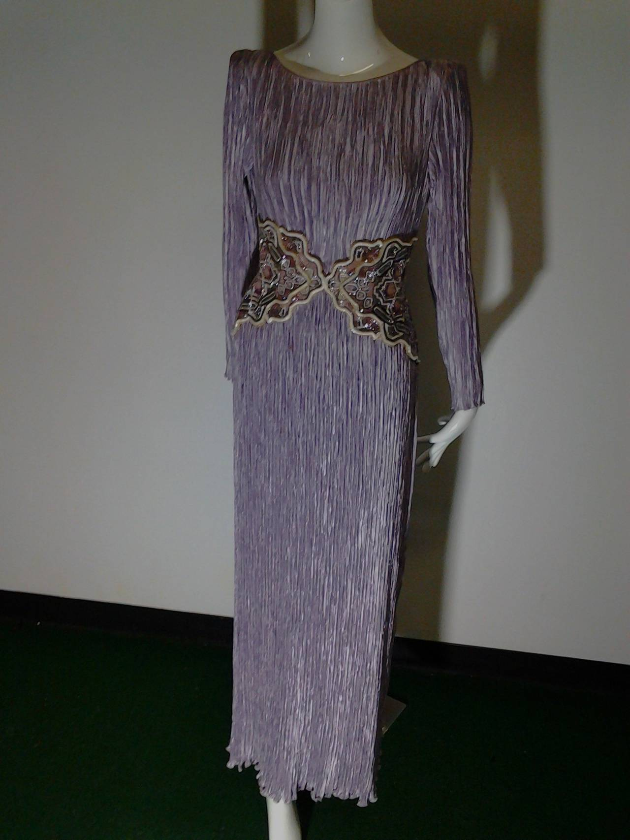 1980s Mary McFadden Lilac Pleated Silk Gown w/ Beaded Detail 4
