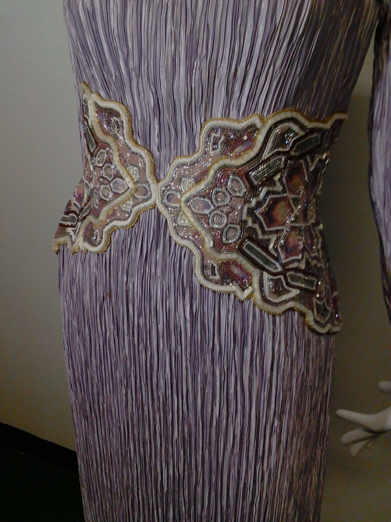 1980s Mary McFadden Lilac Pleated Silk Gown w/ Beaded Detail 5