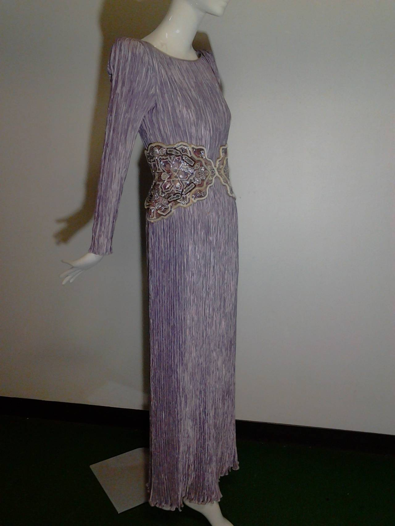 1980s Mary McFadden Lilac Pleated Silk Gown w/ Beaded Detail 2