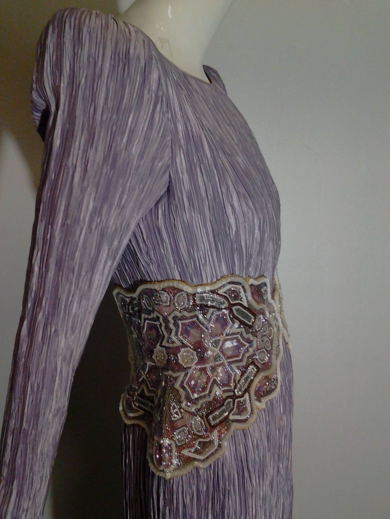 1980s Mary McFadden Lilac Pleated Silk Gown w/ Beaded Detail 6