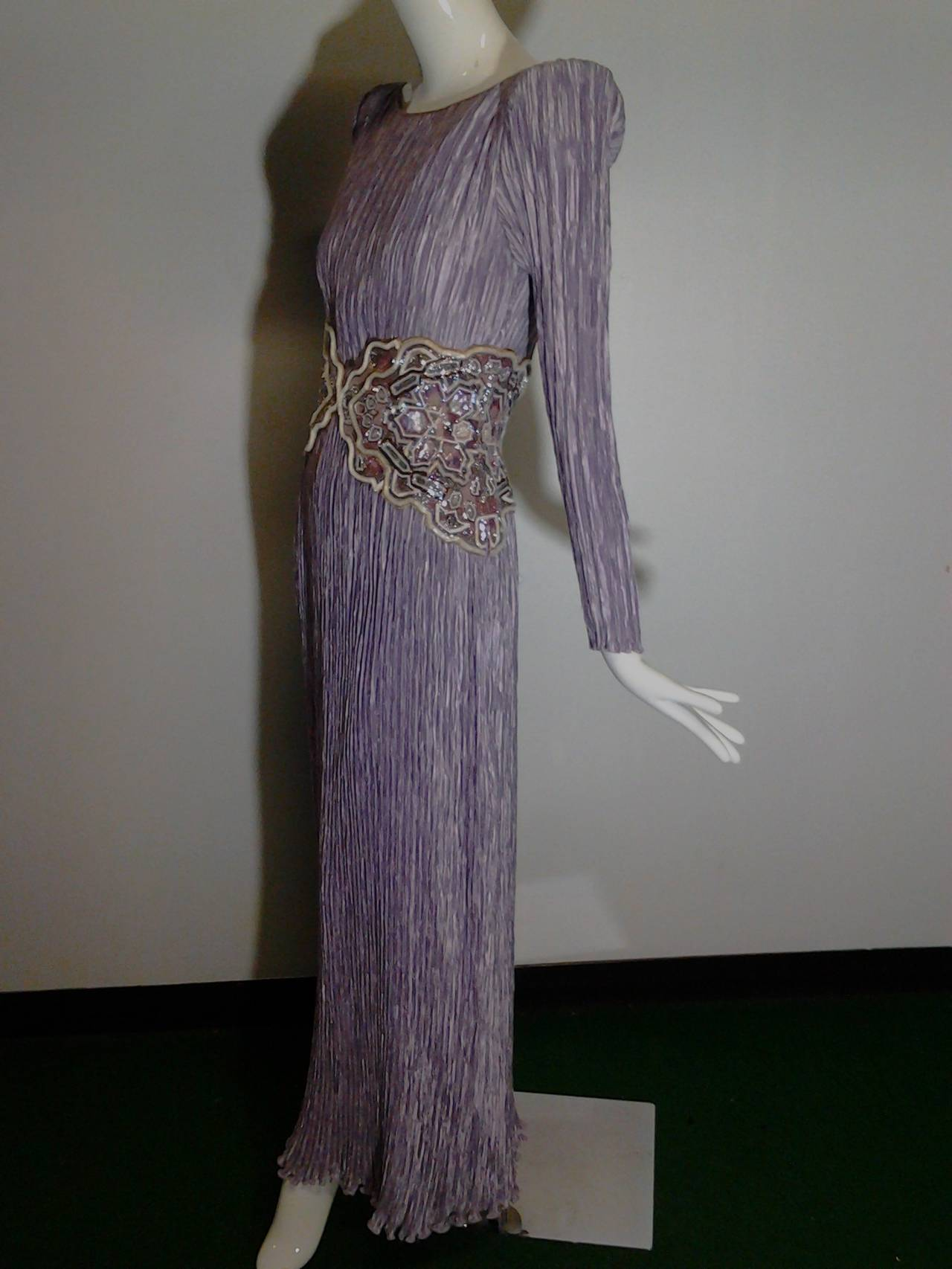 1980s Mary McFadden Lilac Pleated Silk Gown w/ Beaded Detail 8
