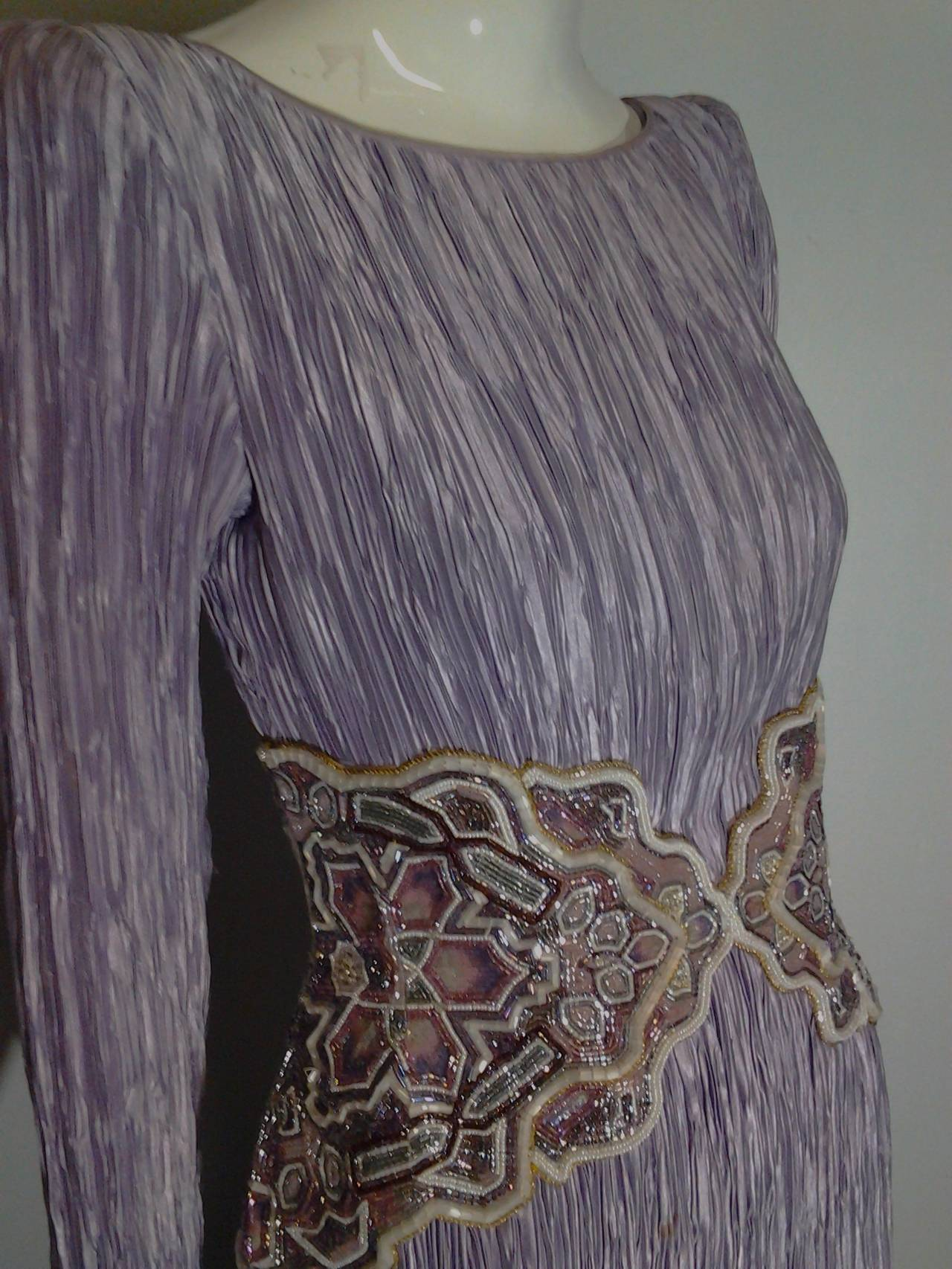 1980s Mary McFadden Lilac Pleated Silk Gown w/ Beaded Detail 9