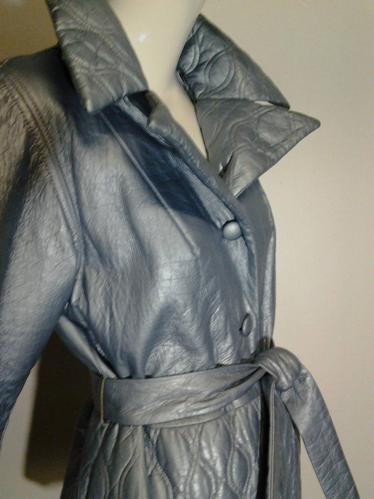Gray 1960s Lilli Ann Pearlized Vinyl  Car Coat in Pale Blue For Sale