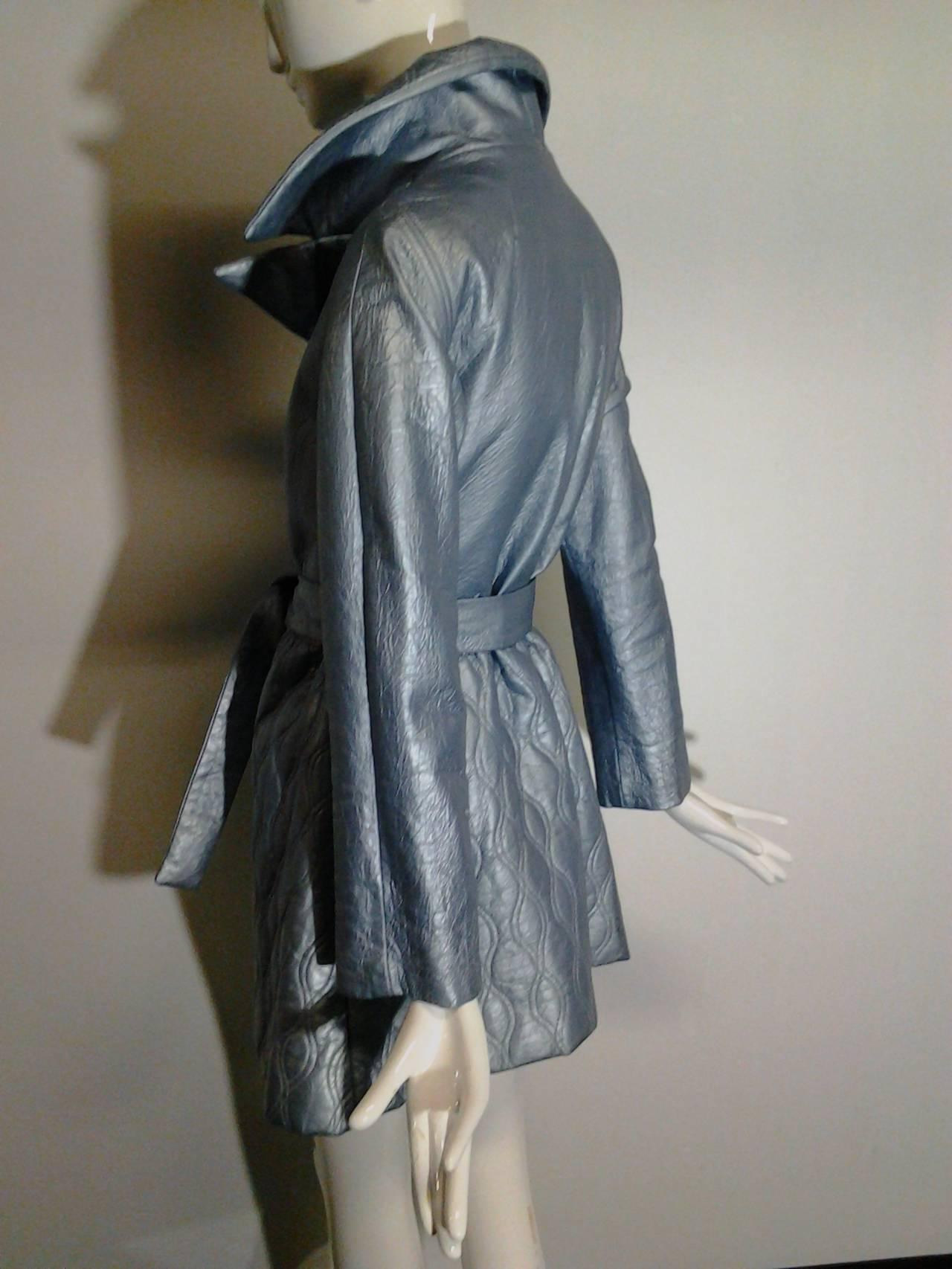 1960s Lilli Ann Pearlized Vinyl  Car Coat in Pale Blue 5