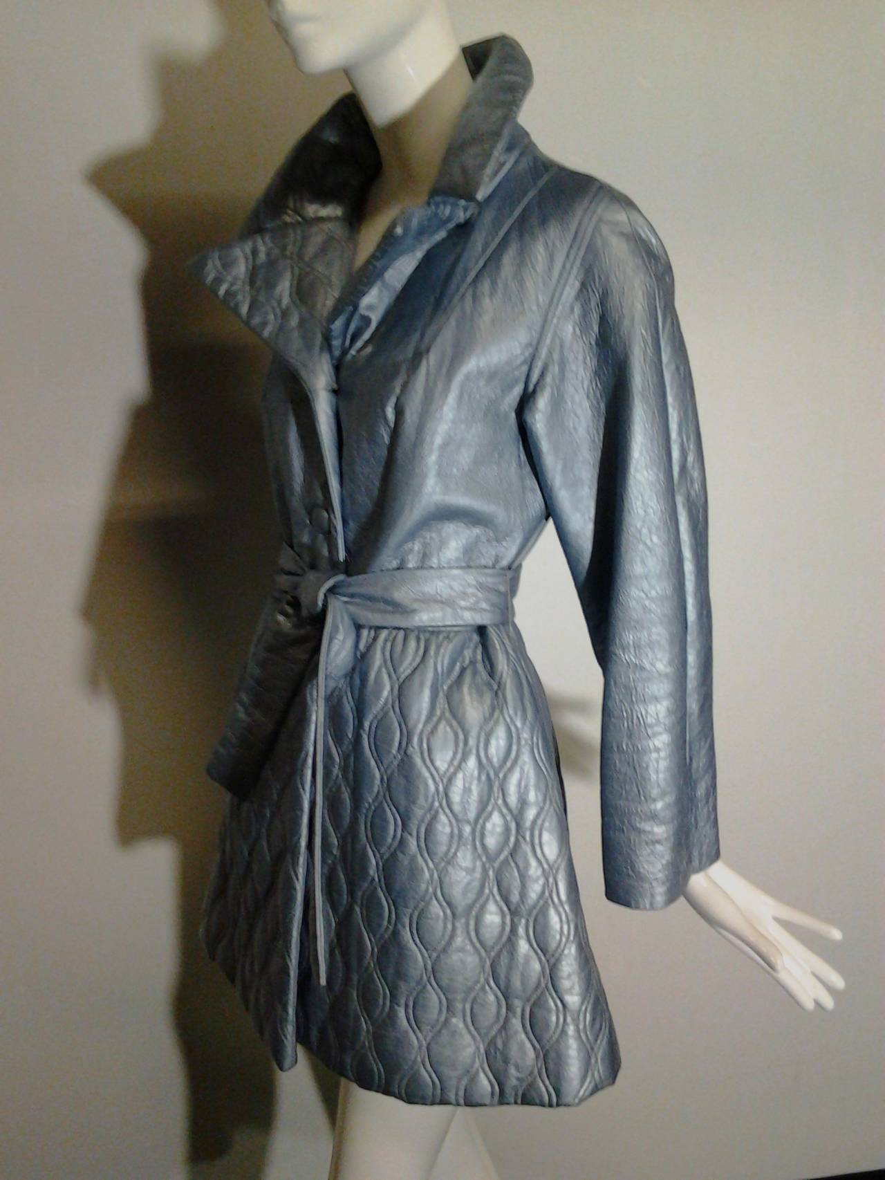 1960s Lilli Ann Pearlized Vinyl  Car Coat in Pale Blue For Sale 1