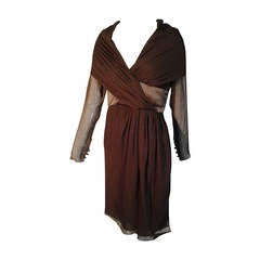1980s Bill Blass Chocolate Chiffon Shawl-Collar Wrap-Front Cocktail Dress