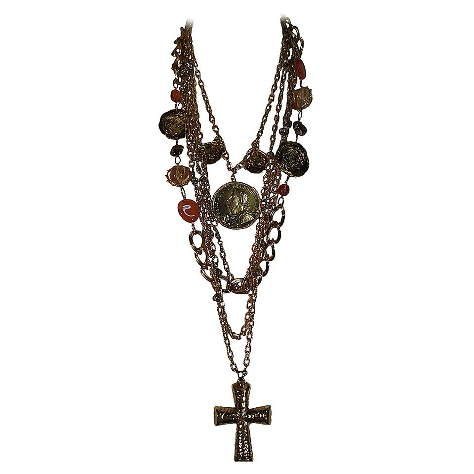 1960s Les Bernard Massive Coin, Cross and Chain Necklace 1