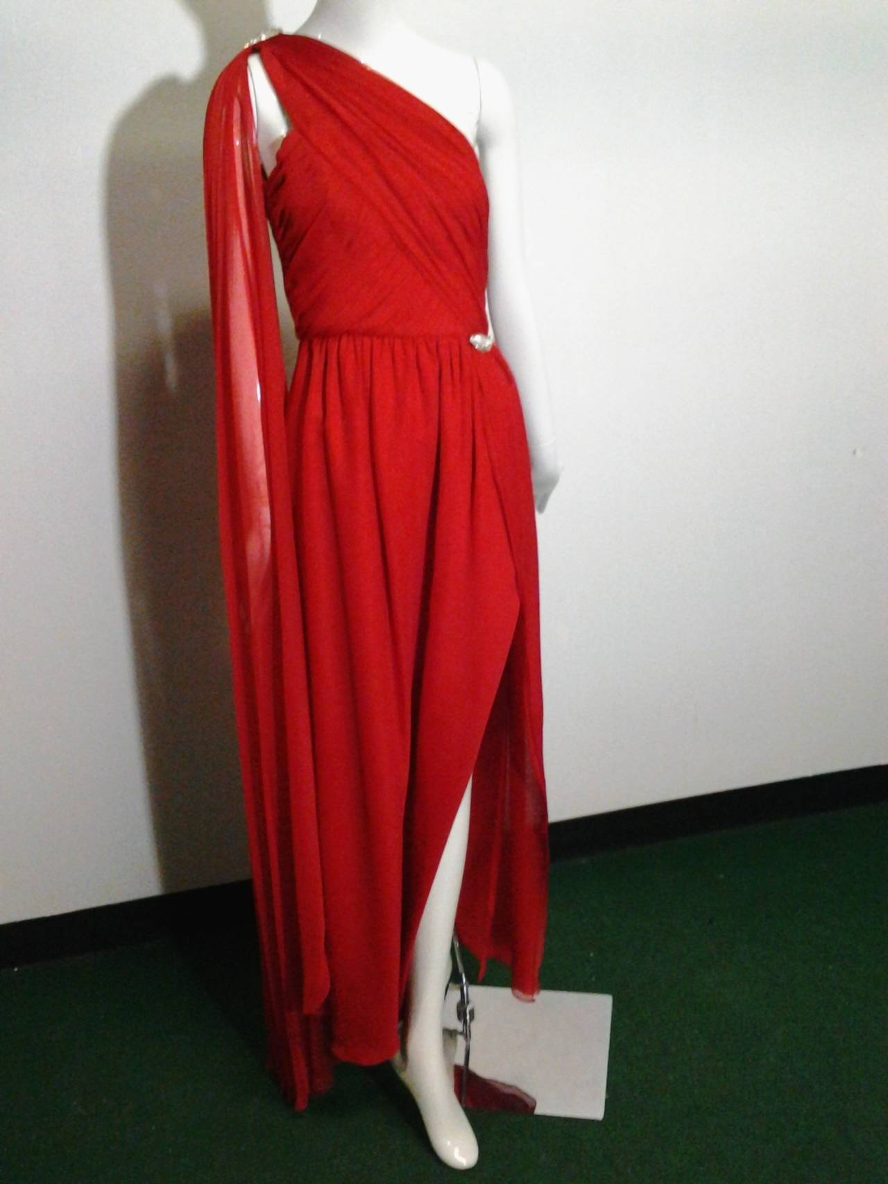 1980s Carolyne Roehm Vivid Red Silk Chiffon One-Shoulder Goddess Gown 7