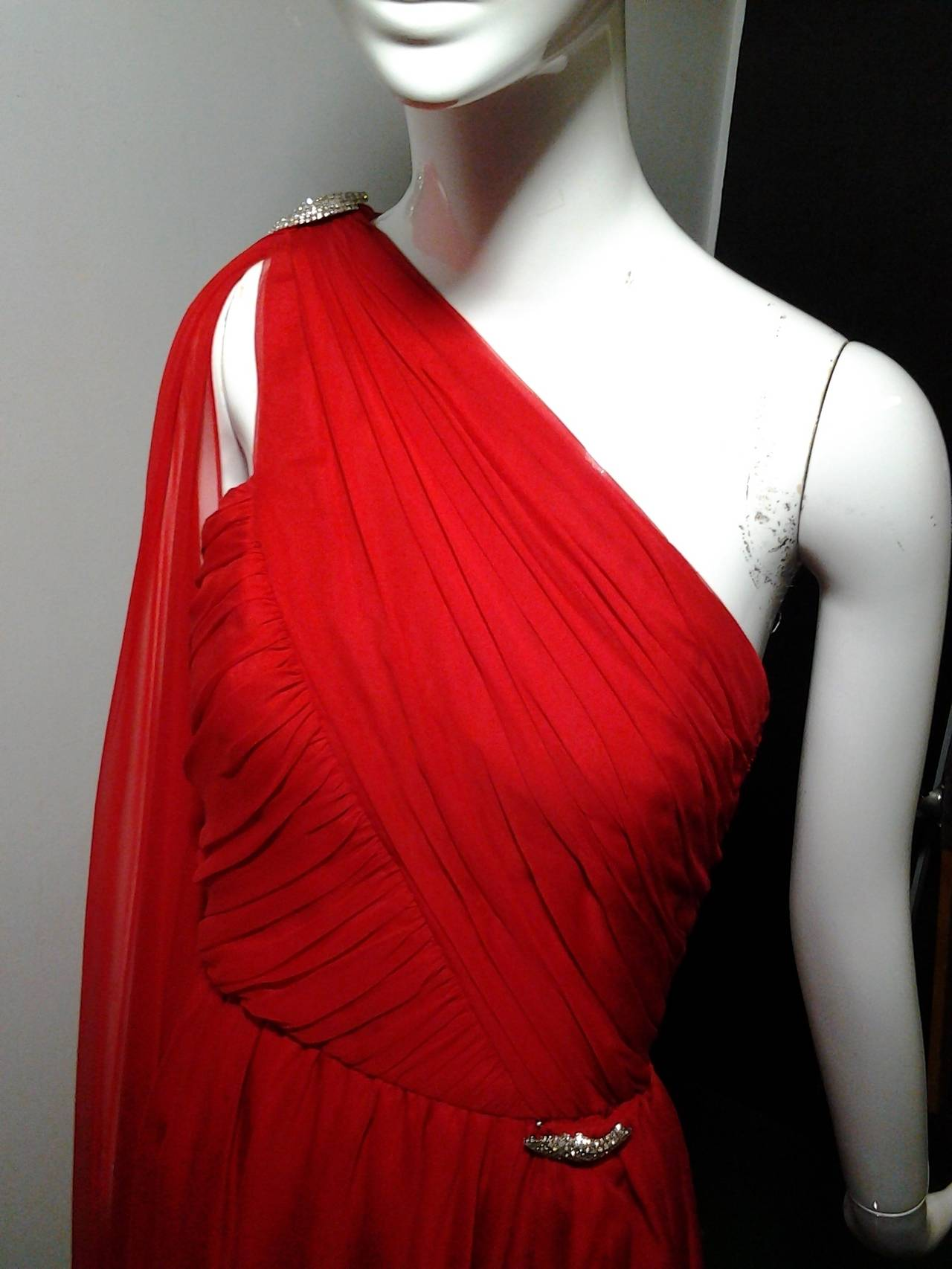 1980s Carolyne Roehm Vivid Red Silk Chiffon One-Shoulder Goddess Gown 6