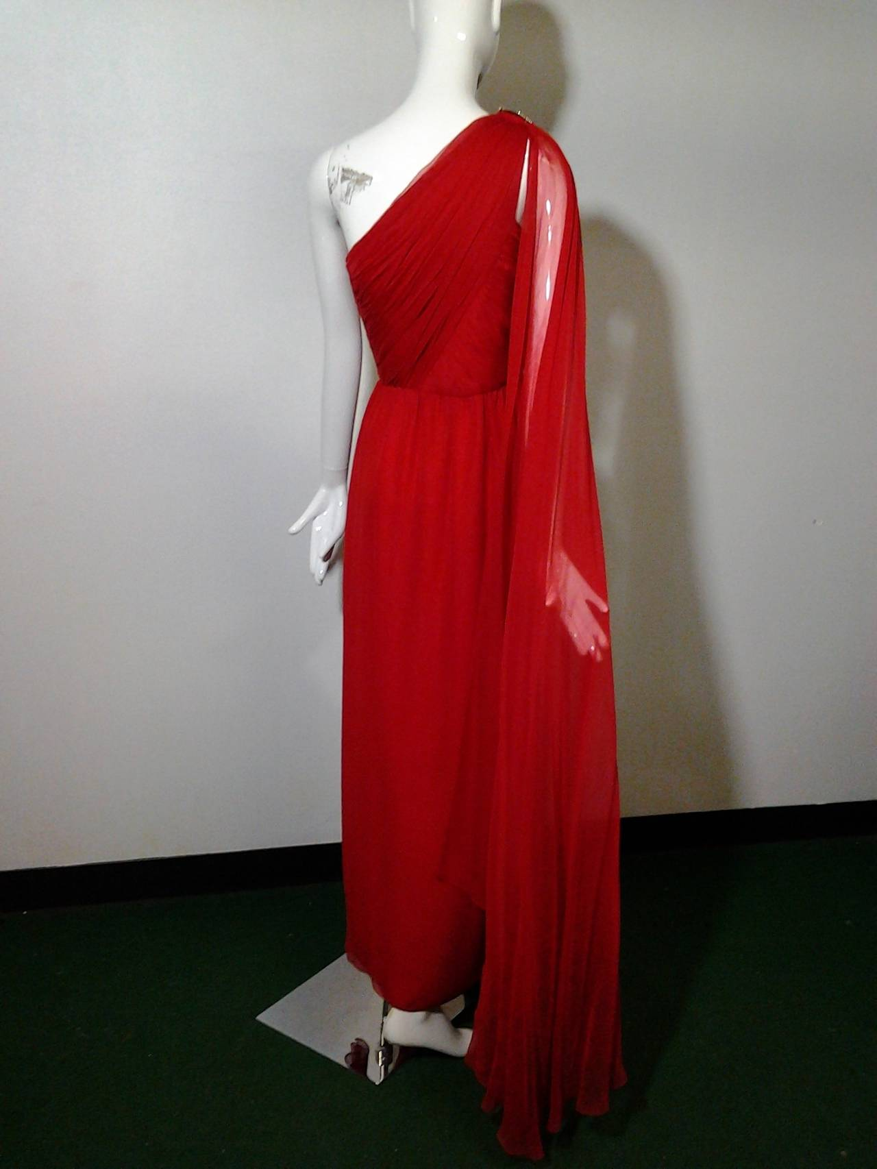 1980s Carolyne Roehm Vivid Red Silk Chiffon One-Shoulder Goddess Gown 3