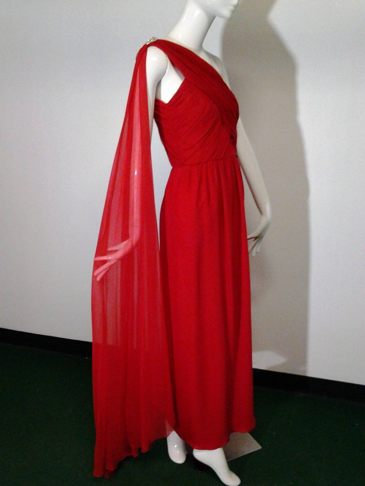 1980s Carolyne Roehm Vivid Red Silk Chiffon One-Shoulder Goddess Gown 2