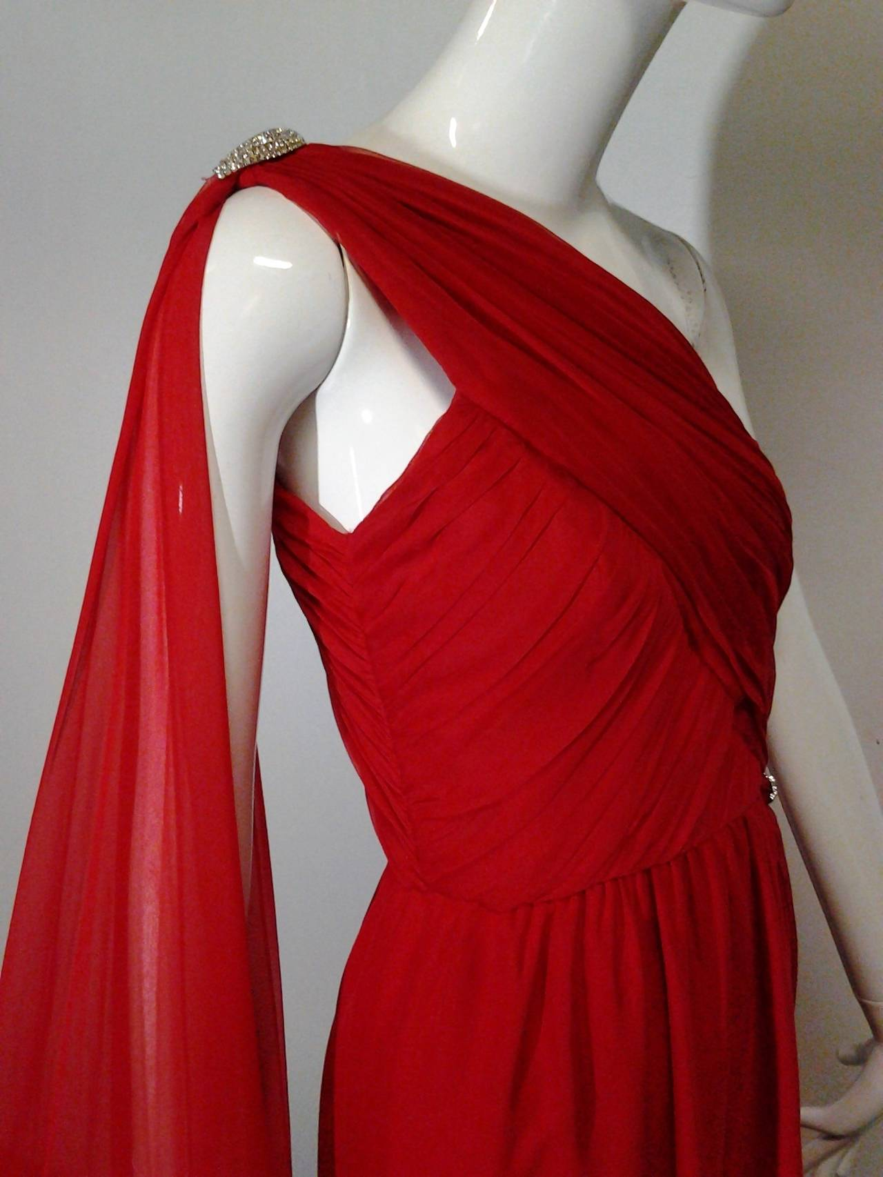 1980s Carolyne Roehm Vivid Red Silk Chiffon One-Shoulder Goddess Gown 5
