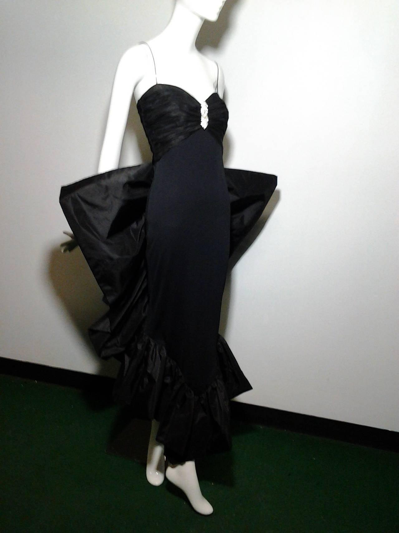 Women's 1980s Jill Richards Dramatic Black Fan-Tail Bustle Cocktail Dress For Sale