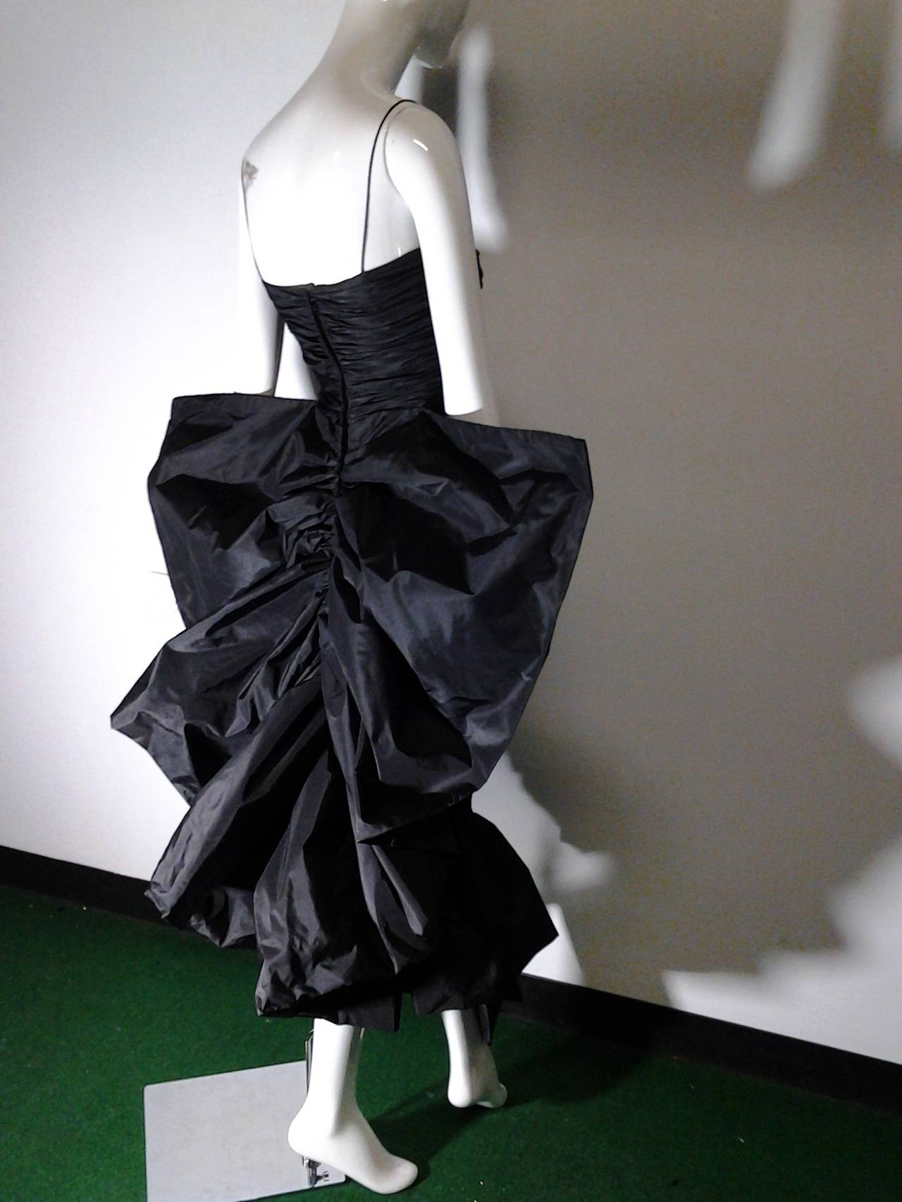 1980s Jill Richards Dramatic Black Fan-Tail Bustle Cocktail Dress In Excellent Condition For Sale In San Francisco, CA