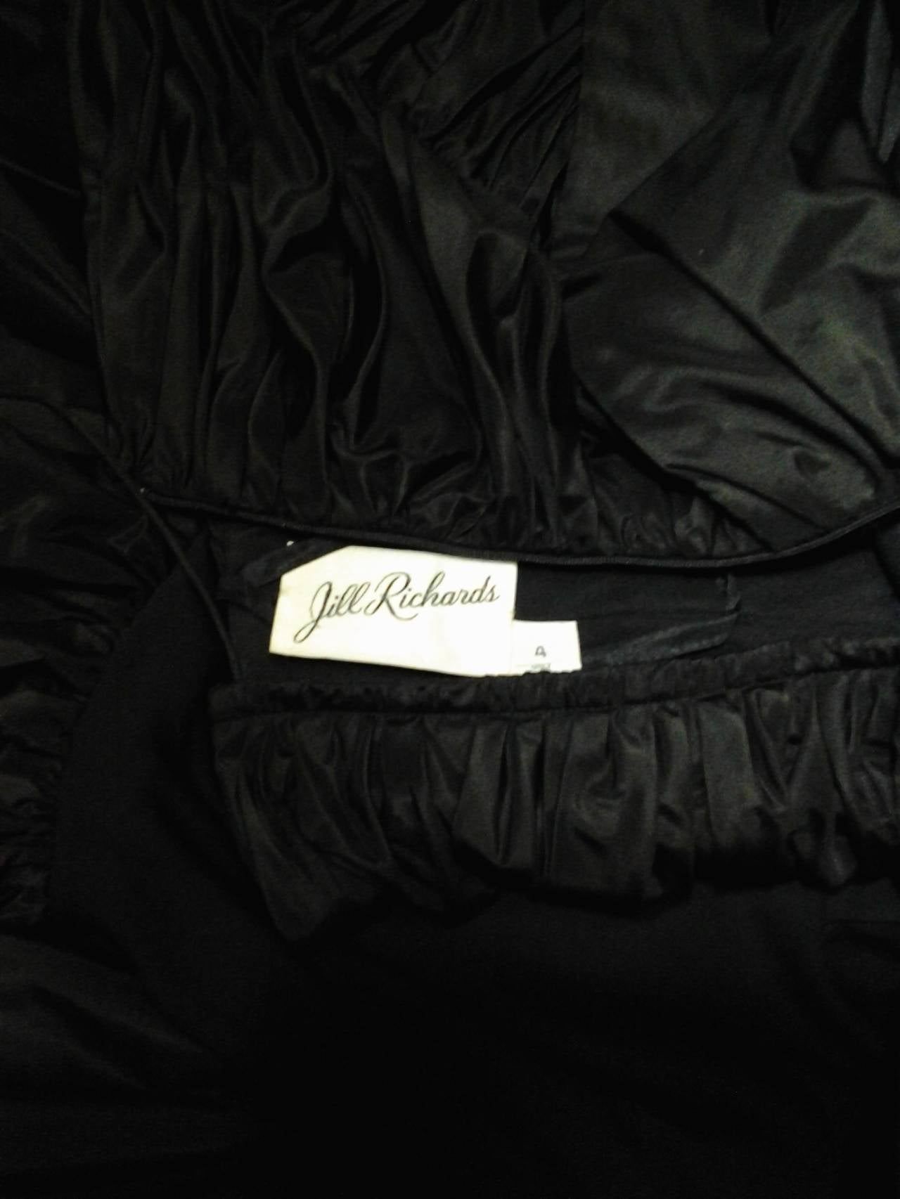 1980s Jill Richards Dramatic Black Fan-Tail Bustle Cocktail Dress For Sale 4