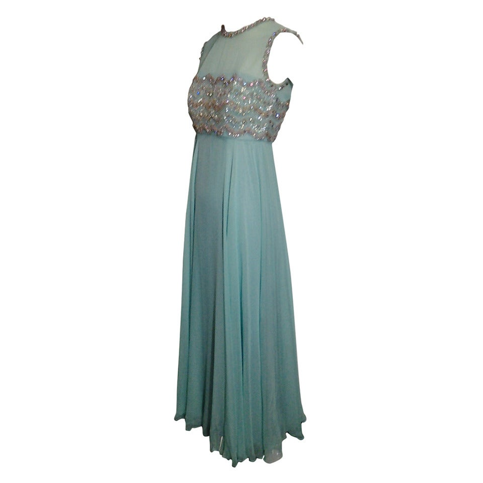 1960s Aqua Silk Chiffon Empire Gown with Heavily Beaded Bodice For ...