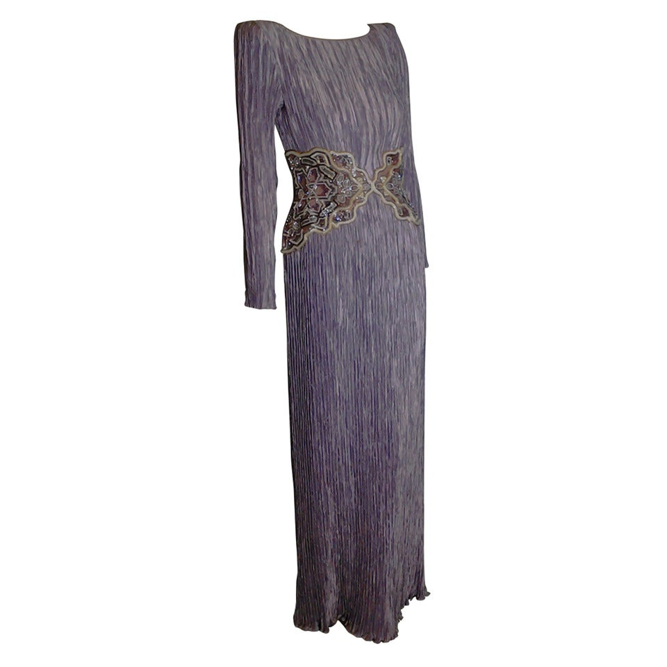 1980s Mary McFadden Lilac Pleated Silk Gown w/ Beaded Detail 1