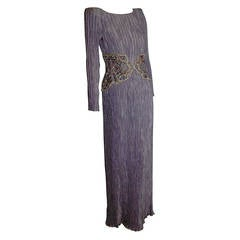 1980s Mary McFadden Lilac Pleated Silk Gown w/ Beaded Detail