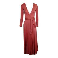 1970s Scott Barrie Persimmon Matte Jersey Disco Wrap Dress