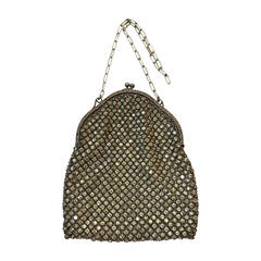 1920s Deco Rhinestone Mesh and Silver Evening Bag