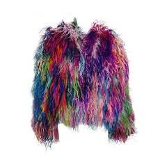 """1980s Adrienne Landau """"Confetti"""" Ostrich Feather Chubby Jacket"""