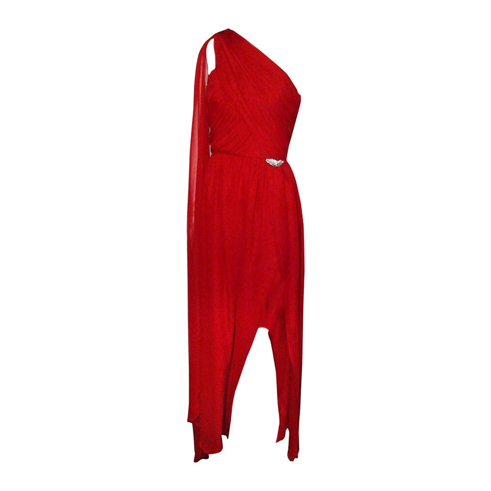 1980s Carolyne Roehm Vivid Red Silk Chiffon One-Shoulder Goddess Gown 1