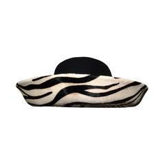 1960s Frank Olive Zebra Skin Curved Brimmed Hat