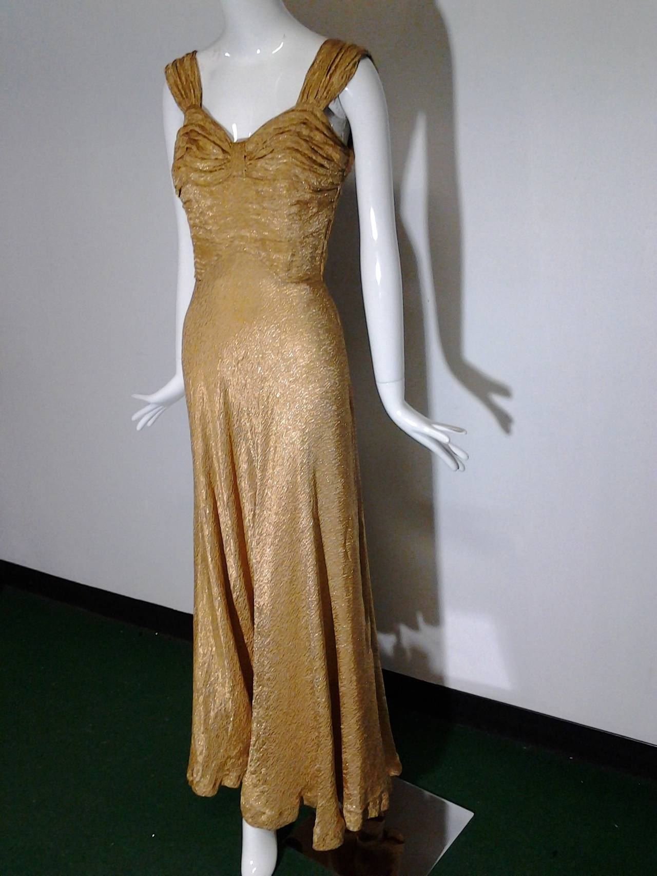 1930s Gold Lame Bias Cut Gown W Sexy Lace Up Back Detail