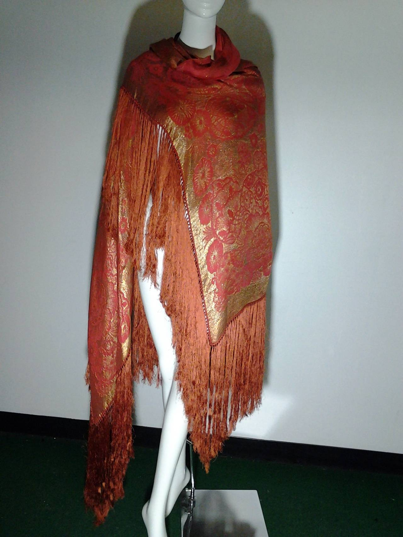 1920s Burnt Umber Silk Satin and Gold Lame Fringed Piano Shawl 7
