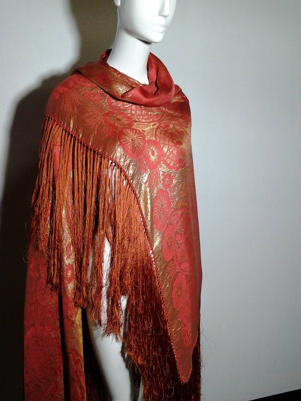 1920s Burnt Umber Silk Satin and Gold Lame Fringed Piano Shawl 6