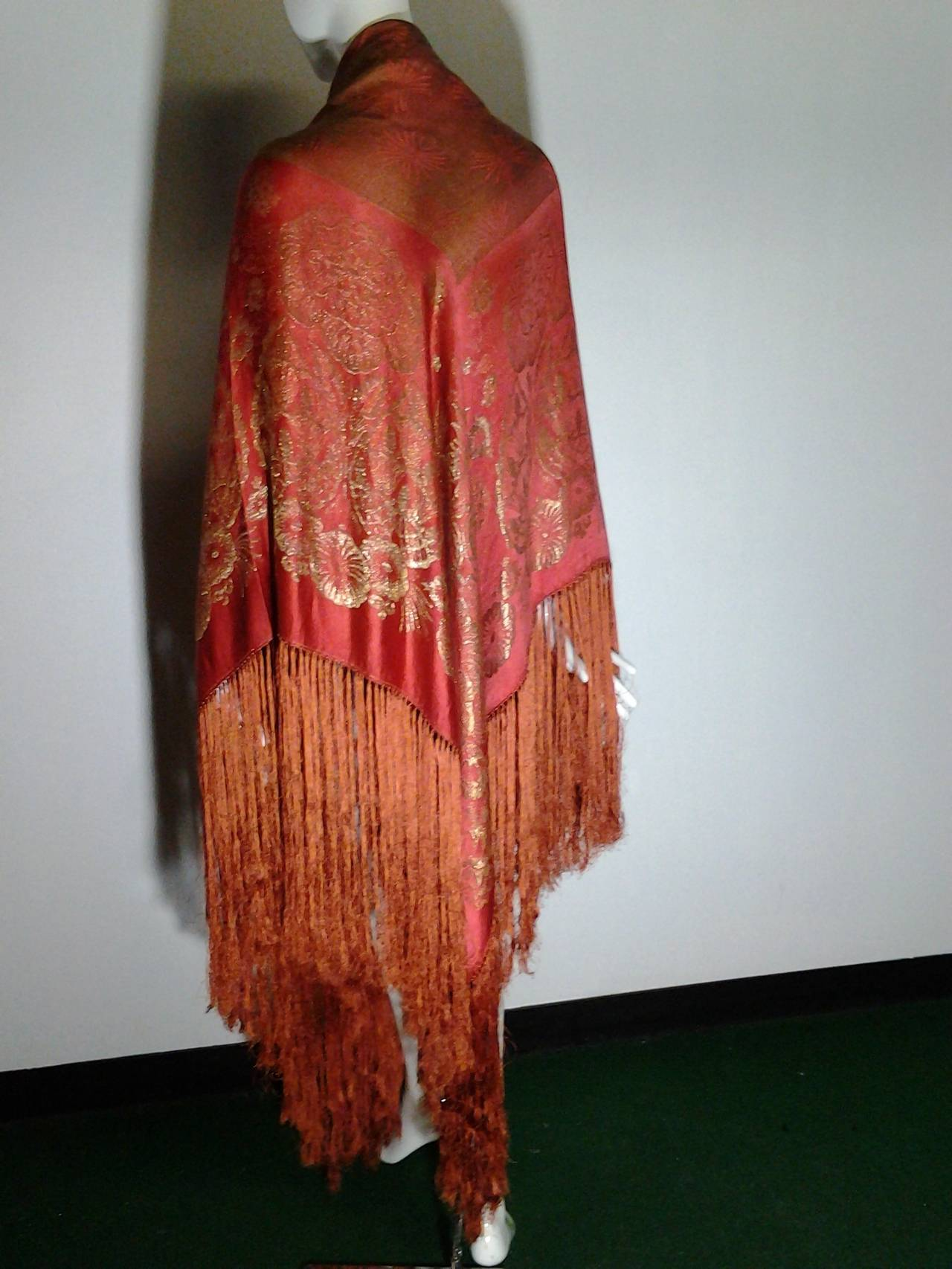 1920s Burnt Umber Silk Satin and Gold Lame Fringed Piano Shawl 4