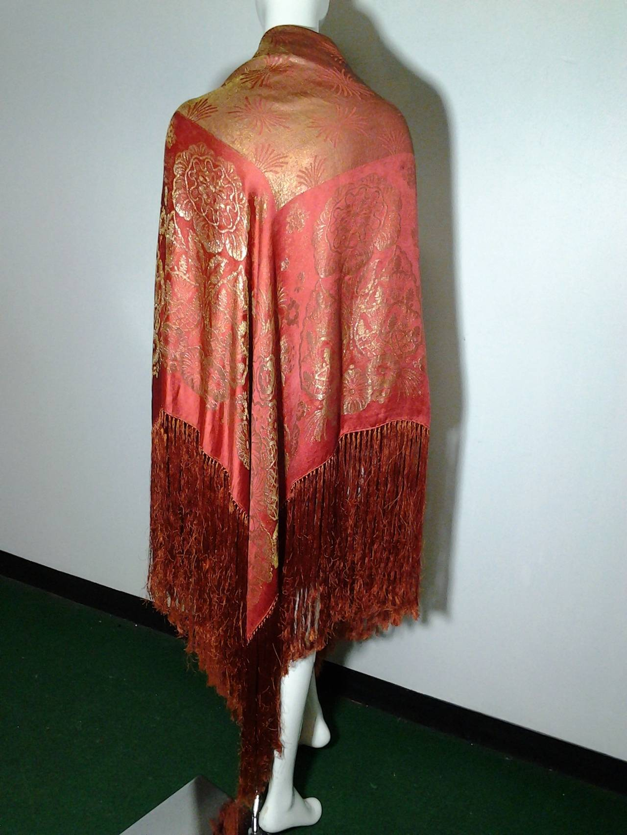1920s Burnt Umber Silk Satin and Gold Lame Fringed Piano Shawl 5