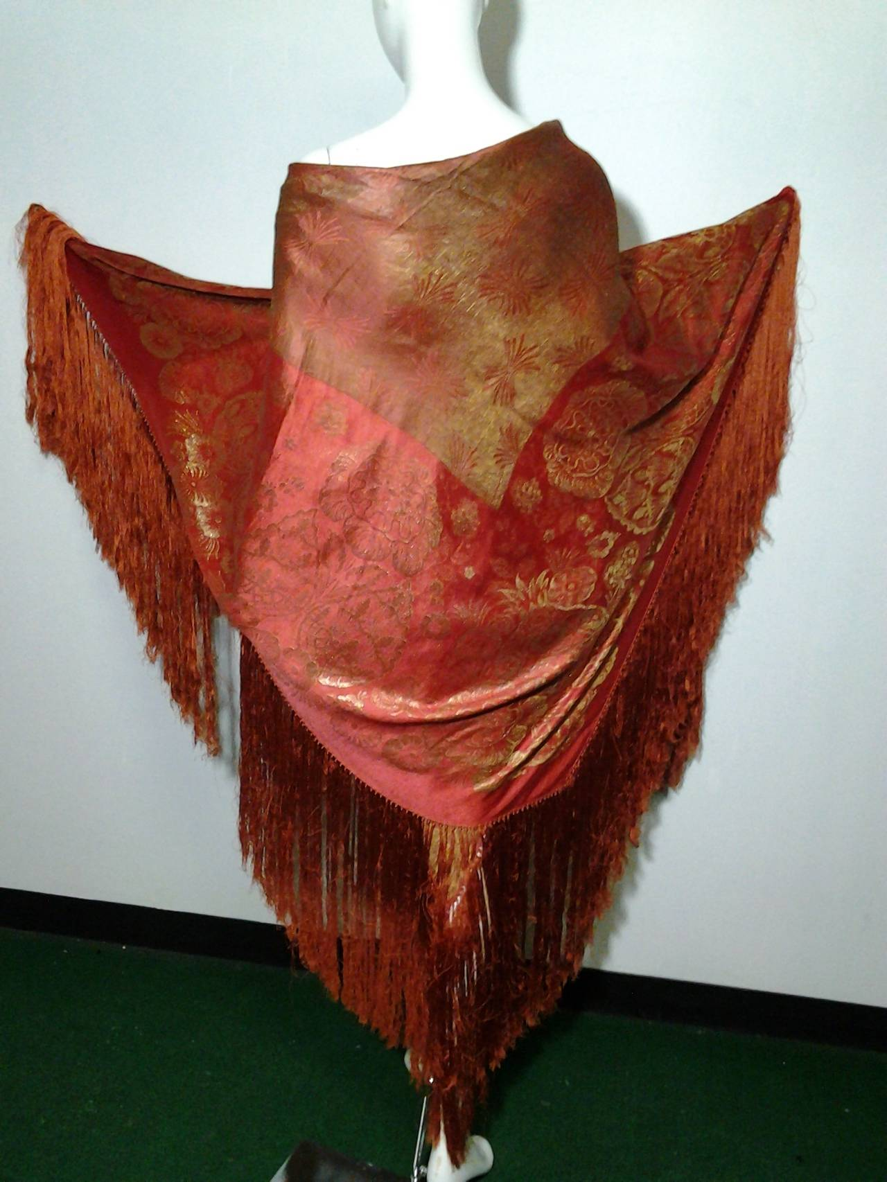 1920s Burnt Umber Silk Satin and Gold Lame Fringed Piano Shawl 3