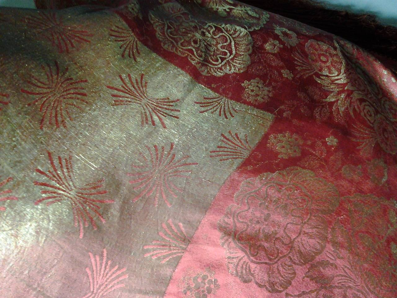 1920s Burnt Umber Silk Satin and Gold Lame Fringed Piano Shawl 8