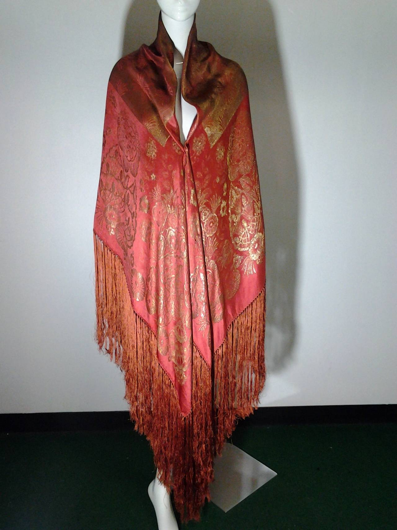 1920s Burnt Umber Silk Satin and Gold Lame Fringed Piano Shawl 2