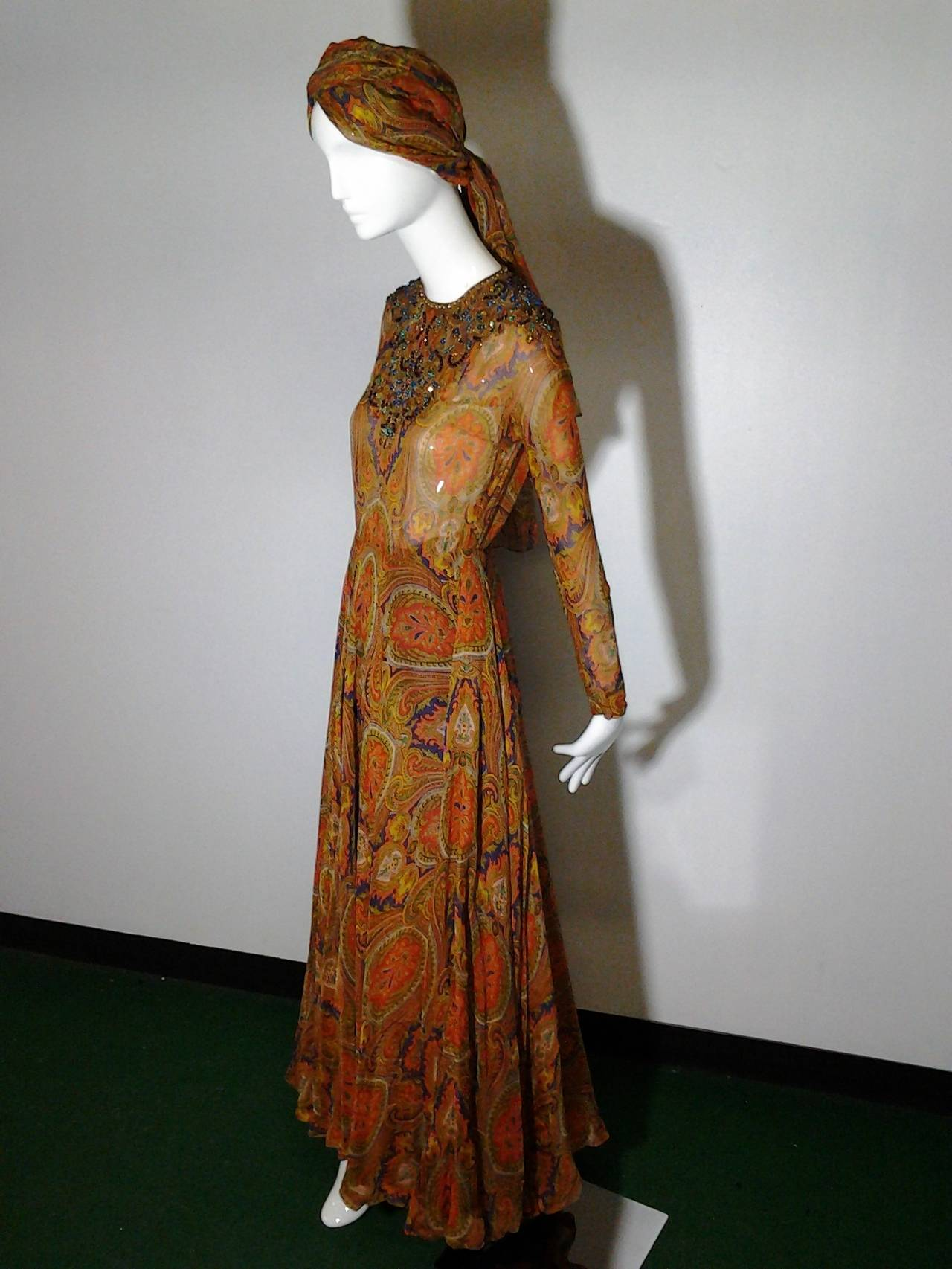 1960s Haute Couture Nina Ricci Paisley Silk Chiffon Gown w/ Turban 2