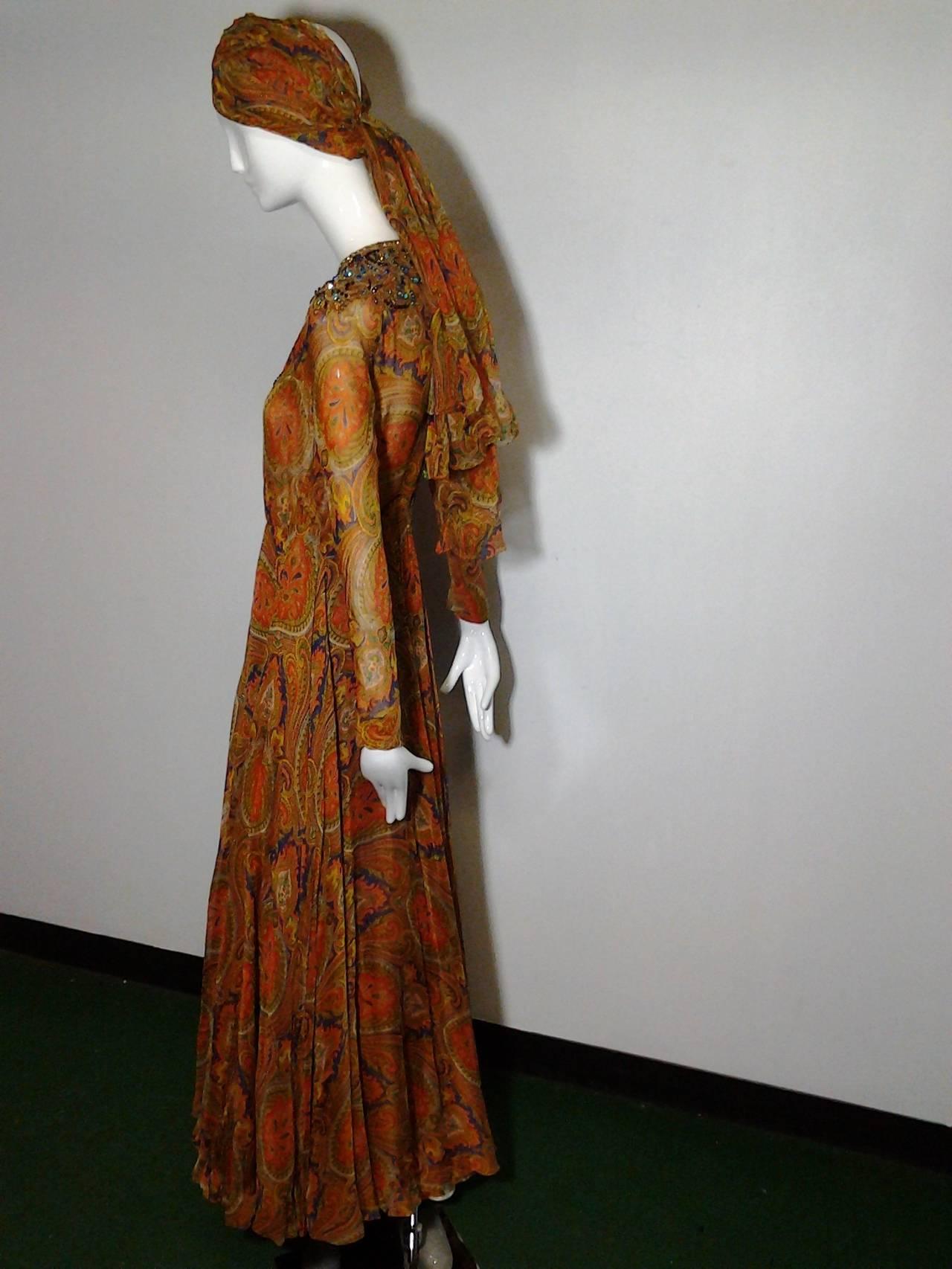 1960s Haute Couture Nina Ricci Paisley Silk Chiffon Gown w/ Turban 6