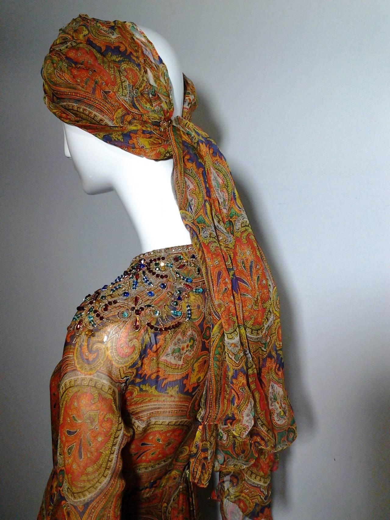 1960s Haute Couture Nina Ricci Paisley Silk Chiffon Gown w/ Turban 7