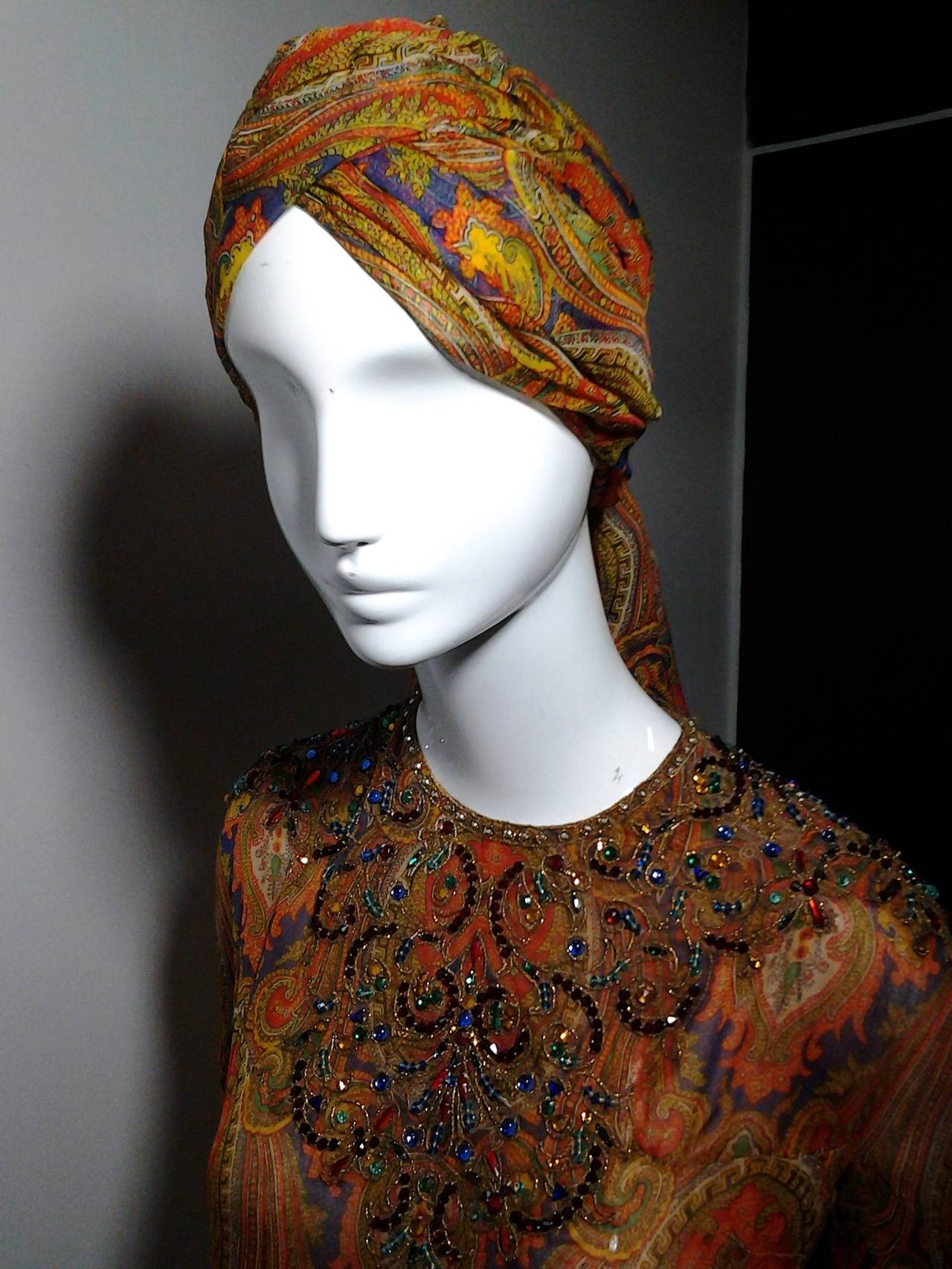 1960s Haute Couture Nina Ricci Paisley Silk Chiffon Gown w/ Turban 8