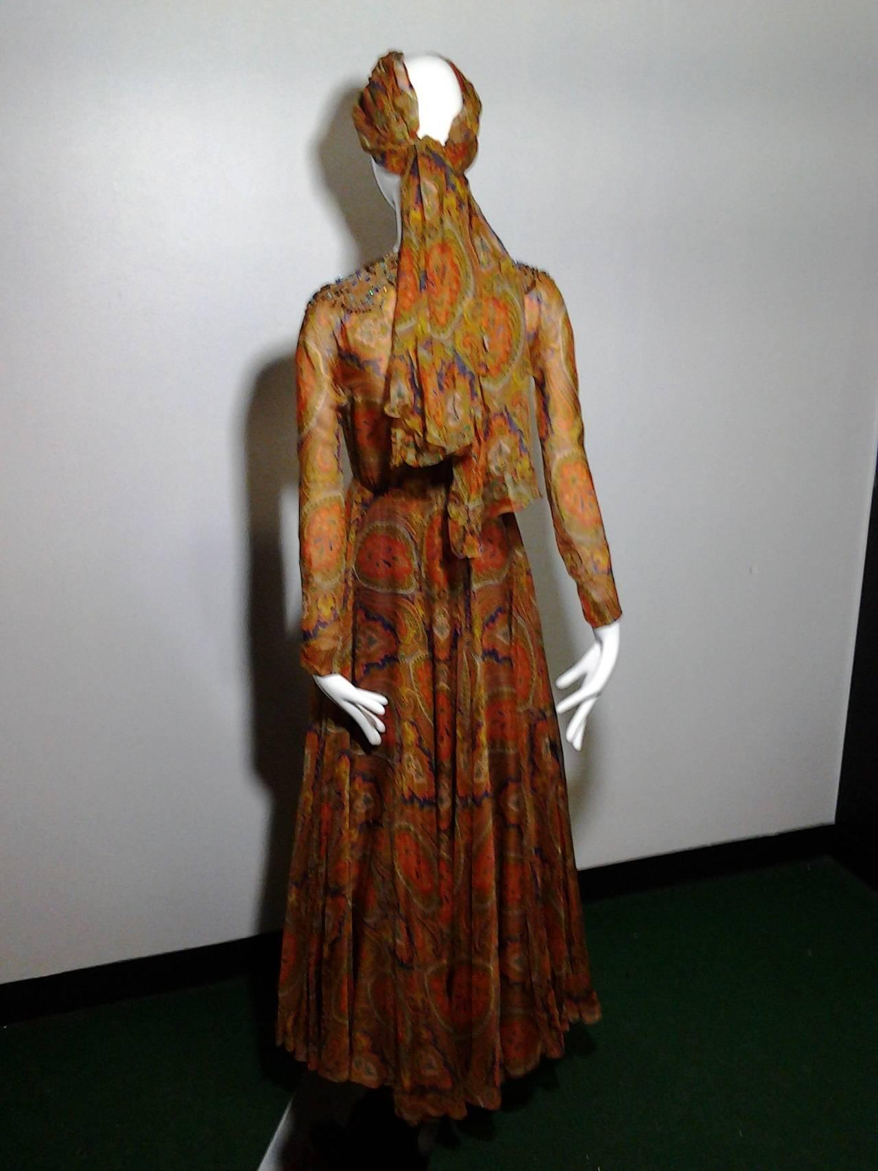 1960s Haute Couture Nina Ricci Paisley Silk Chiffon Gown w/ Turban 5