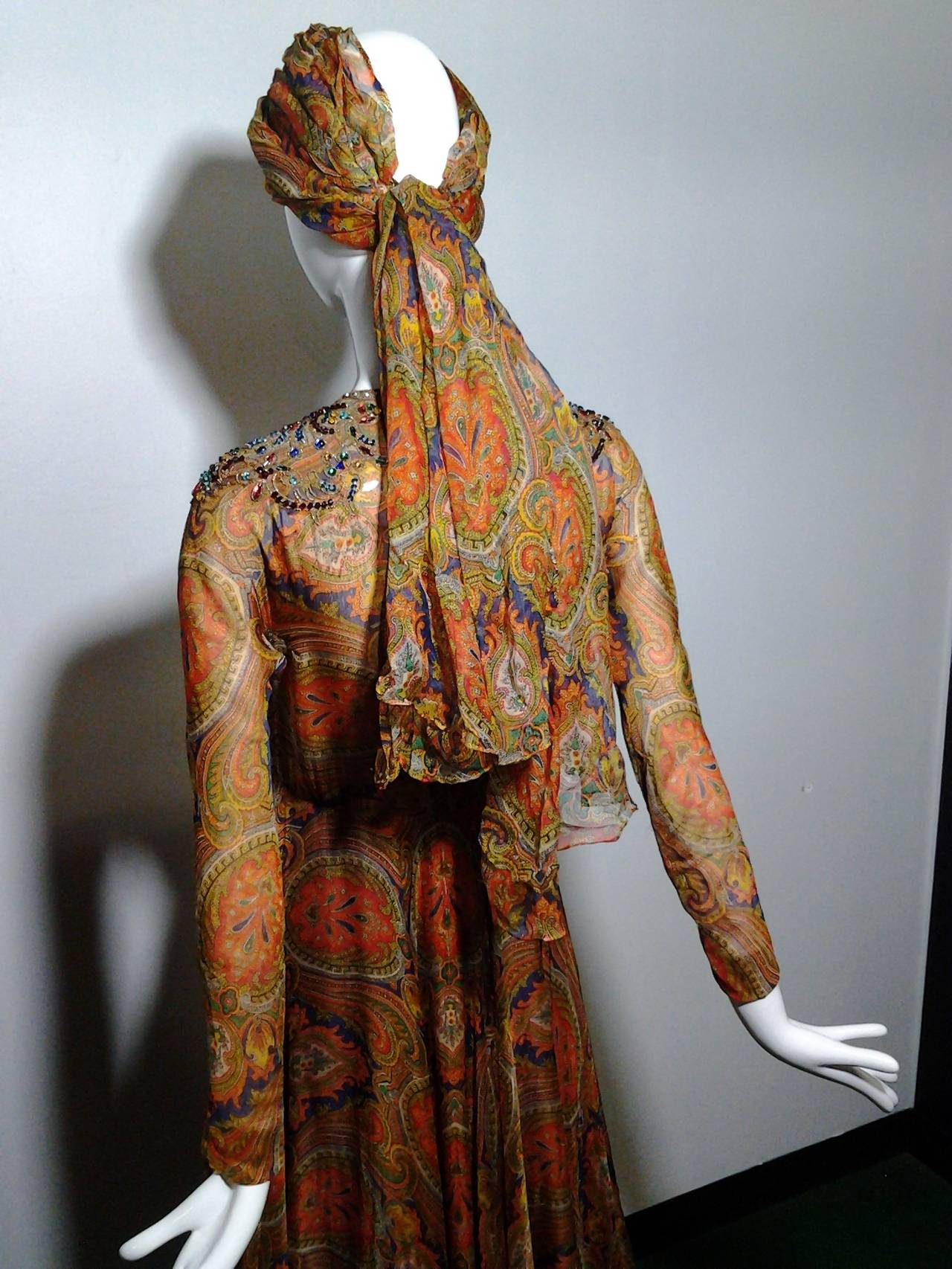 1960s Haute Couture Nina Ricci Paisley Silk Chiffon Gown w/ Turban 4