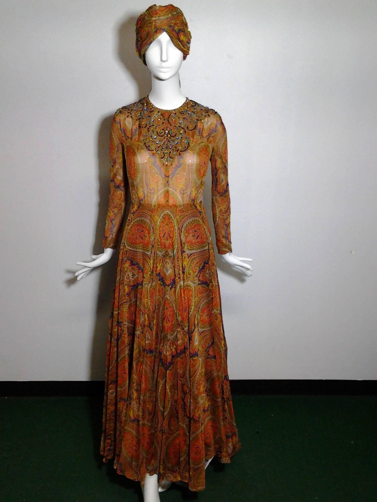 1960s Haute Couture Nina Ricci Paisley Silk Chiffon Gown w/ Turban 3