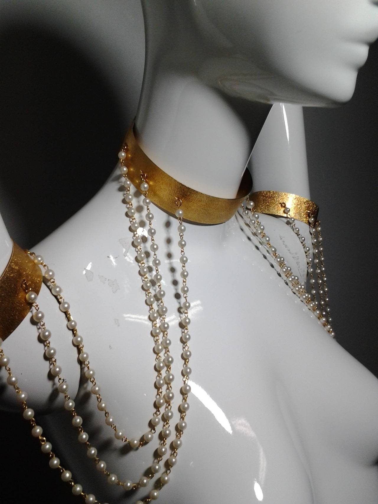 """1960s """"Cleopatra"""" Arm Cuffs and Choker In Faux Pearl and Brushed Gold 4"""